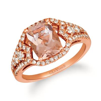 14K Strawberry Gold® Peach Morganite™ 1  1/2 cts. Ring with Nude Diamonds™ 5/8 cts. | YRKH 78