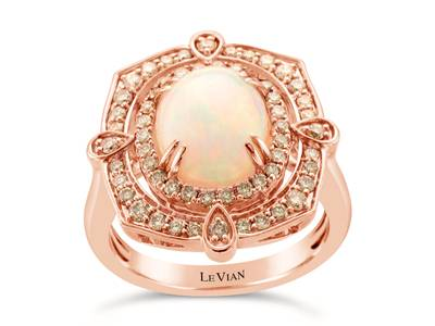 14K Strawberry Gold® Neopolitan Opal™ 1  7/8 cts. Ring with Nude Diamonds™ 5/8 cts. | YRKH 85