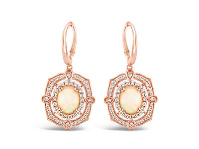 14K Strawberry Gold® Neopolitan Opal™ 1  7/8 cts. Earrings with Nude Diamonds™ 7/8 cts. | YRKH 87