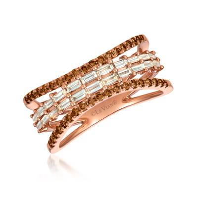 14K Strawberry Gold® Ring with Nude Diamonds™ 3/8 cts., Chocolate Diamonds® 1/3 cts. | YRKH 89