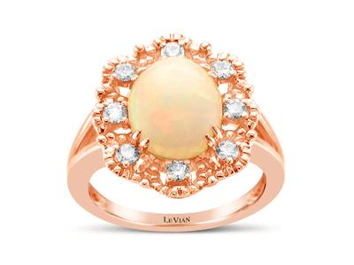 14K Strawberry Gold® Neopolitan Opal™ 1  7/8 cts. Ring with Nude Diamonds™ 1/3 cts. | YRKN 23