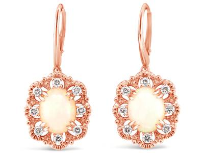 14K Strawberry Gold® Neopolitan Opal™ 2  3/8 cts. Earrings with Nude Diamonds™ 1/2 cts. | YRKN 25
