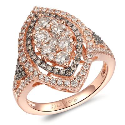 14K Strawberry Gold® Ring with Nude Diamonds™ 1  1/4 cts., Chocolate Diamonds® 1/3 cts. | YRKN 48