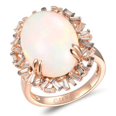 14K Strawberry Gold® Neopolitan Opal™ 7  1/5 cts. Ring with Nude Diamonds™ 1/3 cts., Chocolate Diamonds® 1/4 cts. | YRKN 85