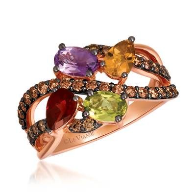 14K Strawberry Gold® Pomegranate Garnet™ 3/8 cts., Green Apple Peridot™ 3/8 cts., Grape Amethyst™ 3/8 cts., Cinnamon Citrine® 1/3 cts. Ring with Chocolate Diamonds® 5/8 cts. | YRKO 44