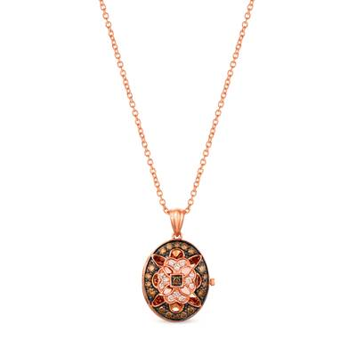 14K Strawberry Gold® Pendant with Chocolate Diamonds® 1/5 cts., Nude Diamonds™ 1/20 cts. | YRKO 60