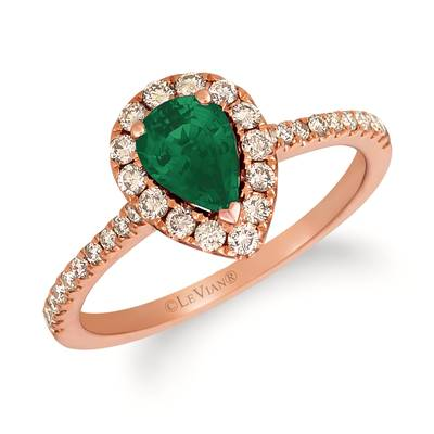 14K Strawberry Gold® Costa Smeralda Emeralds™ 1/2 cts. Ring with Nude Diamonds™ 3/8 cts. | YRKO 8