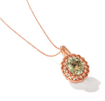 14K Strawberry Gold® Mint Julep Quartz™ 4  3/4 cts. Pendant with Nude Diamonds™ 1/5 cts. | YRKP 136
