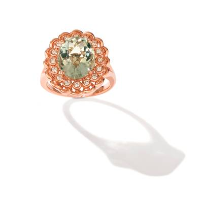 14K Strawberry Gold® Mint Julep Quartz™ 4 cts. Ring with Nude Diamonds™ 1/5 cts. | YRKP 138