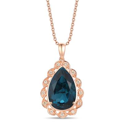 14K Strawberry Gold® Deep Sea Blue Topaz™ 5  1/2 cts. Pendant with Nude Diamonds™ 1/6 cts. | YRKR 259