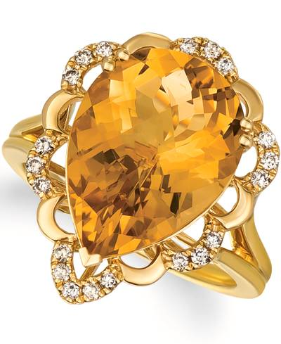 14K Honey Gold™ Cinnamon Citrine® 6  1/4 cts. Ring with Nude Diamonds™ 1/5 cts. | YRKR 448