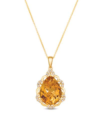 14K Honey Gold™ Cinnamon Citrine® 7  1/2 cts. Pendant with Nude Diamonds™ 1/5 cts. | YRKR 449
