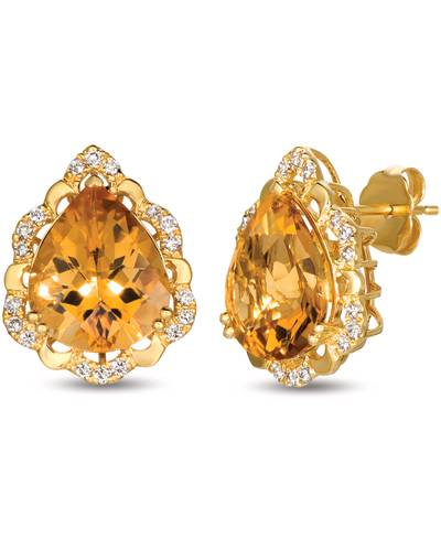 14K Honey Gold™ Cinnamon Citrine® 6 cts. Earrings with Nude Diamonds™ 1/4 cts. | YRKR 450