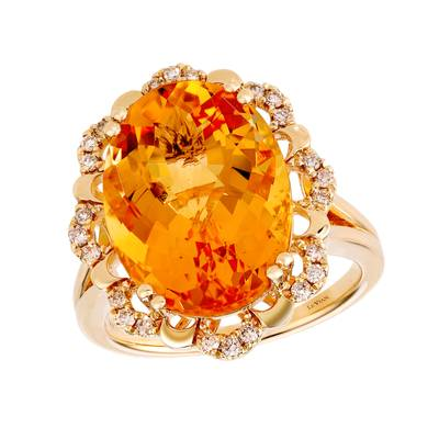 14K Honey Gold™ Cinnamon Citrine® 8  3/4 cts. Ring with Nude Diamonds™ 1/5 cts. | YRKR 451