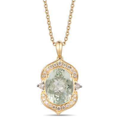 14K Honey Gold™ Mint Julep Quartz™ 4 cts. Pendant with Chocolate Diamonds® 1/20 cts., Nude Diamonds™ 1/5 cts. | YRKR 484
