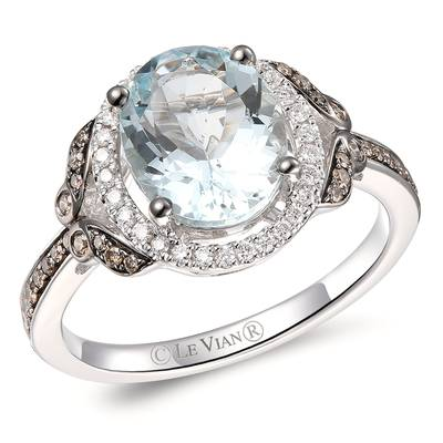 14K Vanilla Gold® Sea Blue Aquamarine® 2 cts. Ring with Chocolate Diamonds® 1/5 cts., Vanilla Diamonds® 1/8 cts. | YRKT 28
