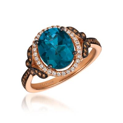 14K Strawberry Gold® Deep Sea Blue Topaz™ 3 cts. Ring with Chocolate Diamonds® 1/6 cts., Vanilla Diamonds® 1/8 cts. | YRKT 41