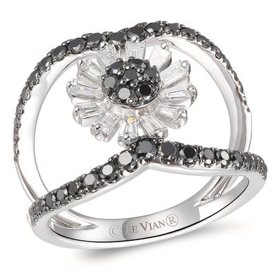 14K Vanilla Gold® Ring with Black Diamonds 3/4 cts., Vanilla Diamonds® 1/3 cts. | YRKT 55