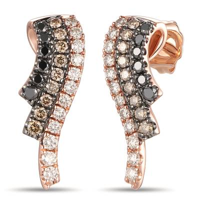 14K Strawberry Gold® Earrings with Nude Diamonds™ 3/8 cts., Blackberry Diamonds® 1/5 cts., Chocolate Diamonds® 1/4 cts. | YRKX 1