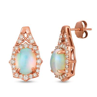 14K Strawberry Gold® Neopolitan Opal™ 1  7/8 cts. Earrings with Nude Diamonds™ 5/8 cts. | YRLD 12
