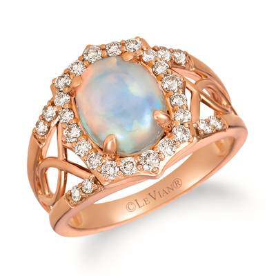 14K Strawberry Gold® Neopolitan Opal™ 1  1/5 cts. Ring with Nude Diamonds™ 1/2 cts. | YRLD 13