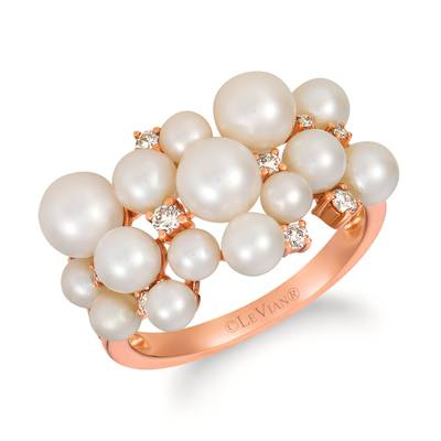 14K Strawberry Gold® Vanilla Pearls™  cts. Ring with Nude Diamonds™ 1/6 cts. | YRLD 15