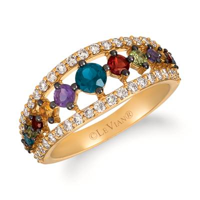 14K Honey Gold™ Deep Sea Blue Topaz™ 1/3 cts., Pomegranate Garnet™ 1/5 cts., Grape Amethyst™ 1/8 cts., Green Apple Peridot™ 1/10 cts., Cinnamon Citrine® 1/15 cts. Ring with Nude Diamonds™ 1/2 cts. | YRLD 18