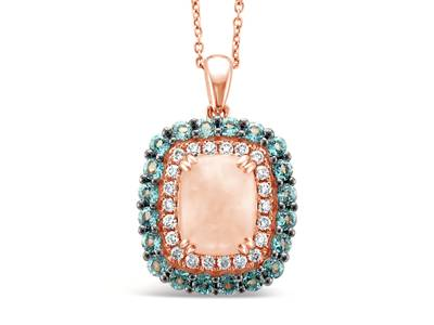 14K Strawberry Gold® Neopolitan Opal™ 1  1/3 cts., Blue Topaz 1 cts. Pendant with Nude Diamonds™ 1/3 cts. | YRLD 76