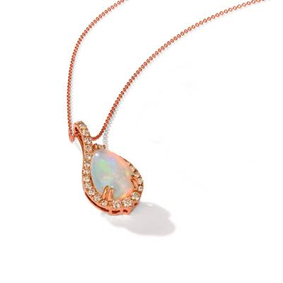 14K Strawberry Gold® Neopolitan Opal™ 2  1/4 cts. Pendant with Nude Diamonds™ 5/8 cts. | YRLN 15