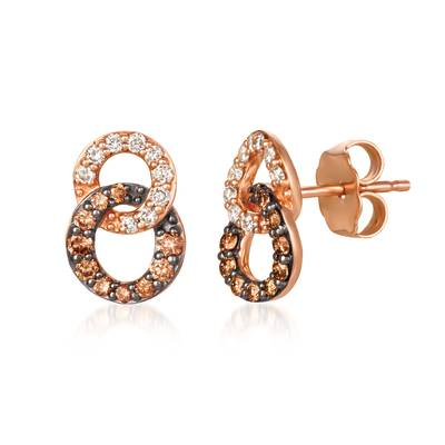 14K Strawberry Gold® Earrings with Chocolate Diamonds® 1/4 cts., Nude Diamonds™ 1/6 cts. | YRLN 36