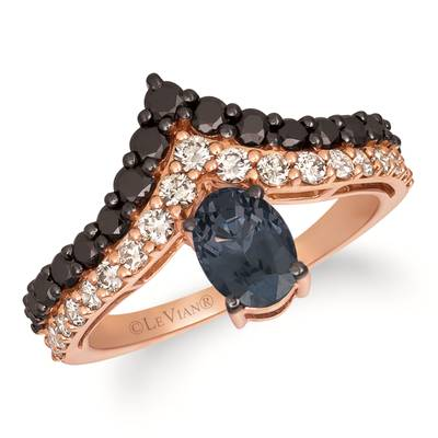 14K Strawberry Gold® Gray Spinel 3/4 cts. Ring with Blackberry Diamonds® 5/8 cts., Nude Diamonds™ 3/8 cts. | YRLN 47