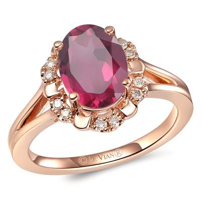 14K Strawberry Gold® Raspberry Rhodolite® 1  7/8 cts. Ring with Nude Diamonds™ 1/10 cts. | YRLP 106