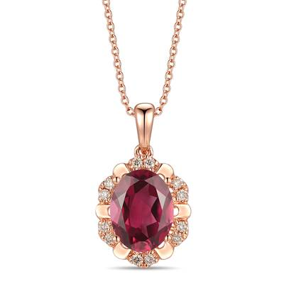 14K Strawberry Gold® Raspberry Rhodolite® 1  7/8 cts. Pendant with Nude Diamonds™ 1/10 cts. | YRLP 107