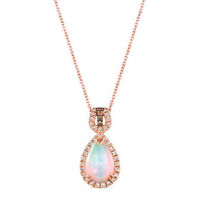 14K Strawberry Gold® Neopolitan Opal™ 1  3/4 cts. Pendant with Nude Diamonds™ 1/3 cts., Chocolate Diamonds® 1/20 cts. | YRLQ 137