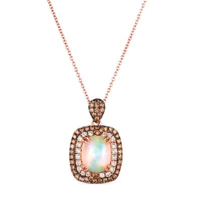 14K Strawberry Gold® Neopolitan Opal™ 1  1/2 cts. Pendant with Chocolate Diamonds® 3/4 cts., Nude Diamonds™ 1/4 cts. | YRLQ 223