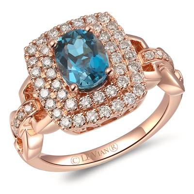 14K Strawberry Gold® Deep Sea Blue Topaz™ 1  3/8 cts. Ring with Nude Diamonds™ 5/8 cts. | YRLR 35