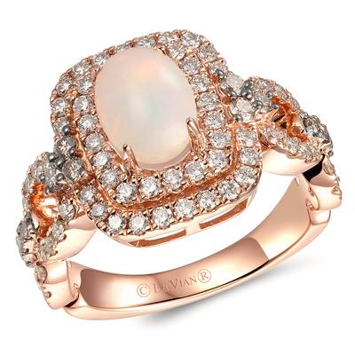 14K Strawberry Gold® Neopolitan Opal™ 3/4 cts. Ring with Chocolate Diamonds® 1/4 cts., Nude Diamonds™ 3/4 cts. | YRLR 55