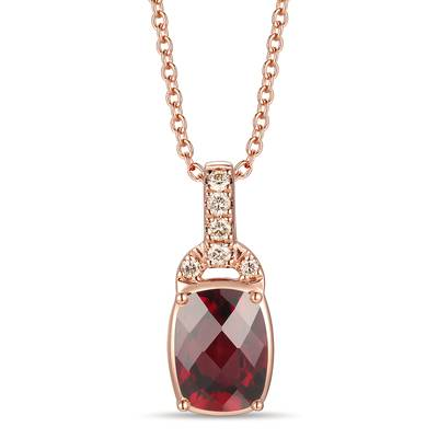 14K Strawberry Gold® Raspberry Rhodolite® 7/8 cts. Pendant with Nude Diamonds™ 1/20 cts. | YRLS 209