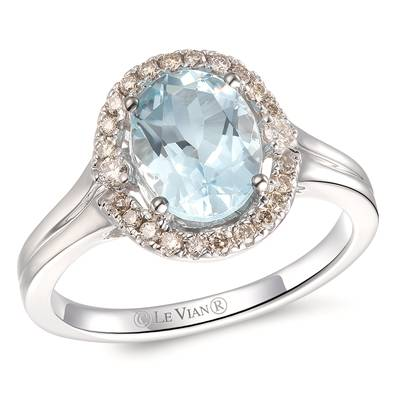 14K Vanilla Gold® Sea Blue Aquamarine® 1  1/2 cts. Ring with Nude Diamonds™ 1/20 cts., Chocolate Diamonds® 1/6 cts. | YRLS 47
