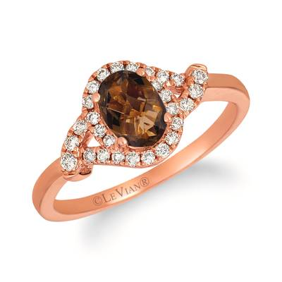14K Strawberry Gold® Chocolate Quartz® 3/4 cts. Ring with Nude Diamonds™ 1/5 cts. | YRLZ 56