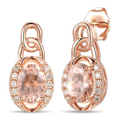 14K Strawberry Gold® Peach Morganite™ 1 cts. Earrings with Nude Diamonds™ 1/6 cts. | YRLZ 67