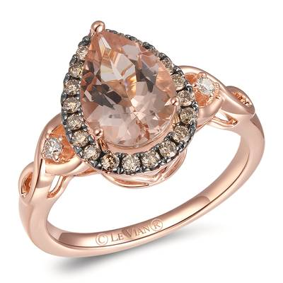 14K Strawberry Gold® Peach Morganite™ 1  1/3 cts. Ring with Nude Diamonds™ 1/20 cts., Chocolate Diamonds® 1/5 cts. | YRLZ 73