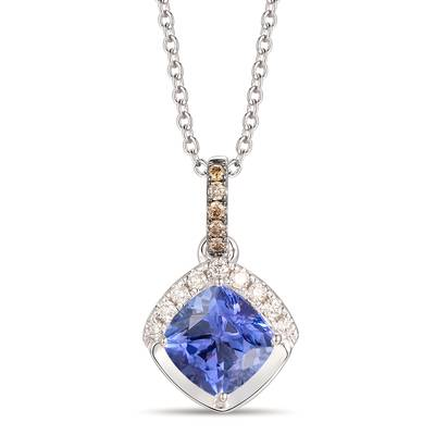 14K Vanilla Gold® Blueberry Tanzanite® 7/8 cts. Pendant with Nude Diamonds™ 1/15 cts., Chocolate Diamonds®  cts. | YRLZ 86
