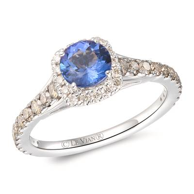14K Vanilla Gold® Blueberry Tanzanite® 1/2 cts. Ring with Chocolate Diamonds® 3/8 cts., Nude Diamonds™ 1/8 cts. | YRLZ 88
