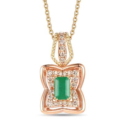 14K Two Tone Gold New Emerald 1/3 cts. Pendant with Nude Diamonds™ 1/4 cts. | YRMB 13A