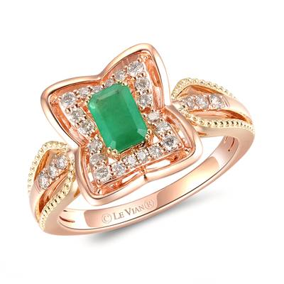 14K Two Tone Gold New Emerald 1/3 cts. Ring with Nude Diamonds™ 1/4 cts. | YRMB 14A