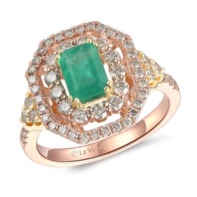 14K Two Tone Gold New Emerald 3/4 cts. Ring with Nude Diamonds™ 7/8 cts. | YRMB 5A