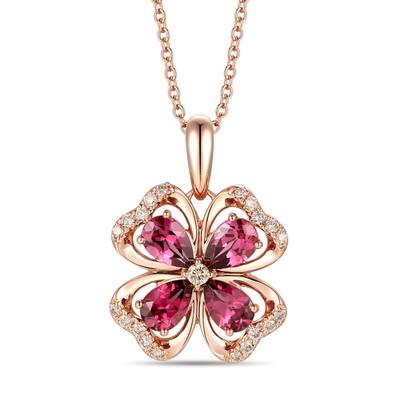14K Strawberry Gold® Raspberry Rhodolite® 1  3/4 cts. Pendant with Nude Diamonds™ 1/5 cts. | YRMD 6A