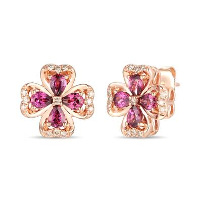14K Strawberry Gold® Raspberry Rhodolite® 1  1/5 cts. Earrings with Nude Diamonds™ 1/5 cts. | YRMD 7A
