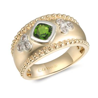 14K Two Tone Gold Pistachio Diopside® 5/8 cts. Ring with Nude Diamonds™ 1/8 cts. | YRMF 35A